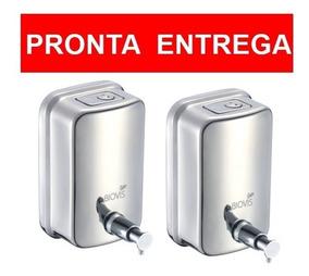 02 Saboneteiras Inox Creme / Sabonete Liquido Biovis 500 Ml
