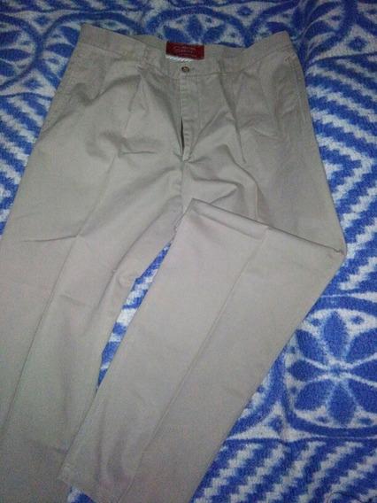 Pantalones Hombre T 42 Pinzado Beige Y Negro 115cm Largo