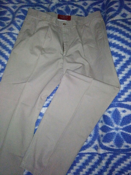 Pantalón Hombre Talla 42 Pinzado Color Beige 115cm Largo
