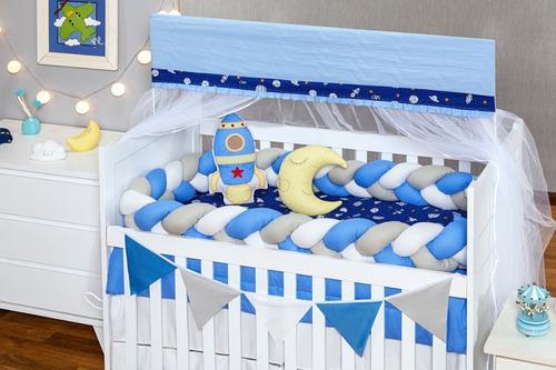 Kit Berço Trança Foguete Azul 8pç + Bala + Saia Brinde