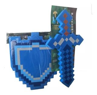 Promo Minemania Escudo+espada 35 Cm Diamante-fuego-hielo