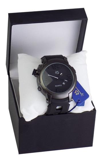 Relógio Masculino Preto Pulseira Super Resistente Borracha