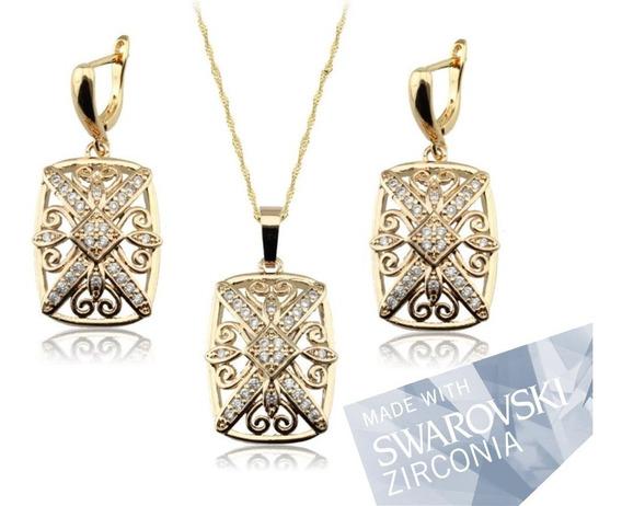 Set Juego Dije Y Aretes Dorado Oro Con Swarovski Zirconias