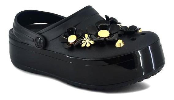 Crocs Mujer Platform Vivid Blooms Clog Negro