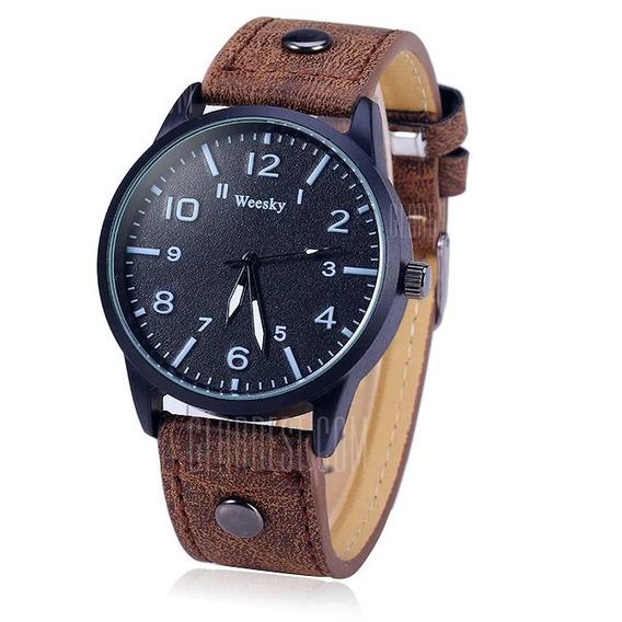Relógio Pulseira De Couro Marca Weesky Importado Original