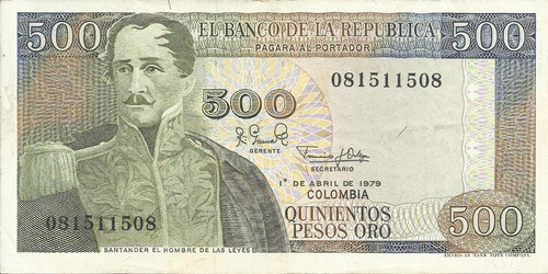 Colombia 500 Pesos Oro 1 De Abril 1979