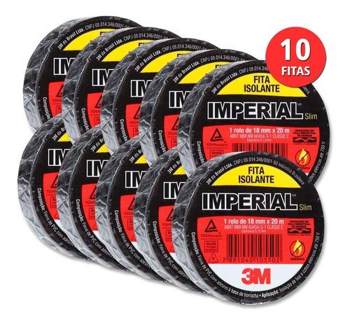 Imagem 1 de 6 de Kit 10 Fita Isolante Imperial Slim 18x20 Metros 3m