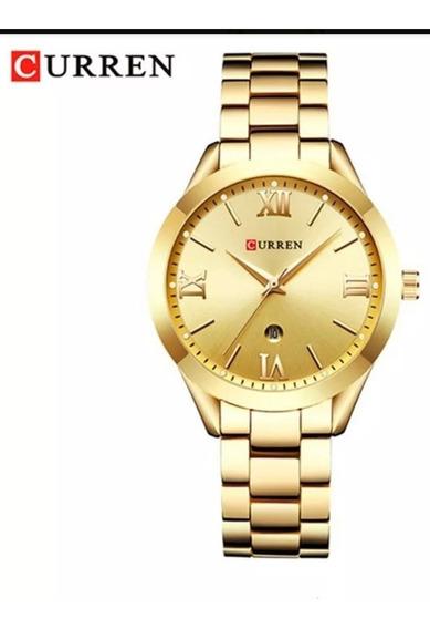Relógio Feminino Dourado Curren 9007 Original Prova D