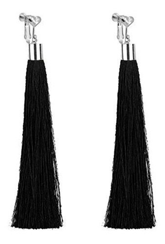 Imagen 1 de 2 de Bohemio Negro Super Larga Borla De Arete De Clip Dangle Para