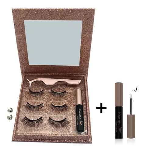 Pestañas Magnéticas Pink 3 Mod +extra Delineador Glitter Box