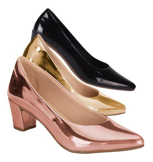 Kit 3 Sapato Feminino Scarpin Salto | Preto, Nude, Branco |