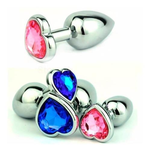 Plug Anal Metálico Corazón Joya Diamante Colores Mediano 8cm