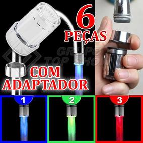Kit 6 Bico Led Torneira Luz Cores Azul Verde Vermelha + Adap