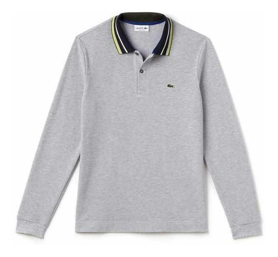 Polo Lacoste En Manga Larga Corte Regular Fit Cuello Multico