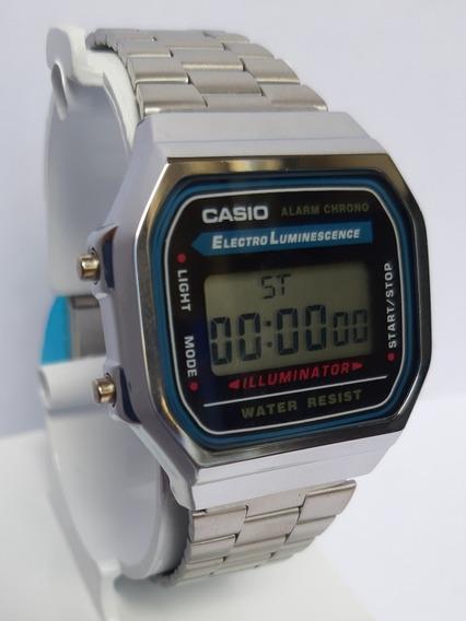 Reloj Casio Retro Vintage A168, Plata Con Negro Envió Gratis