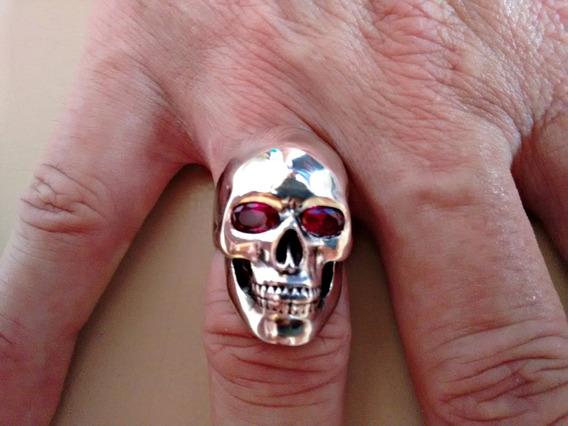 Anel Masculino Em Prata 925 Crânio Olhos Zircônia Vermelha