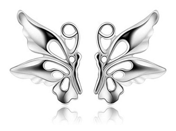 Elegantes Aretes Chapa De Plata Par De Mariposas