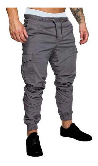 Pantalones Hombre Cargo Jogger Cintura Puños Cordon