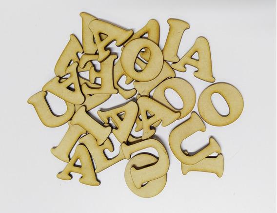 10 Letras Vocales 3cm Fibrofacil Mdf Letras Palabras
