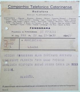Arremate Fonograma Da Cia Telefônica Catarinense 1939