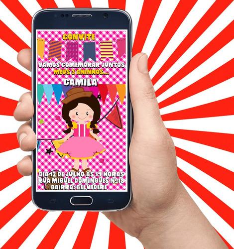 Imagem 1 de 5 de Convite De Aniversário Virtual Animado Festa Junina Menina