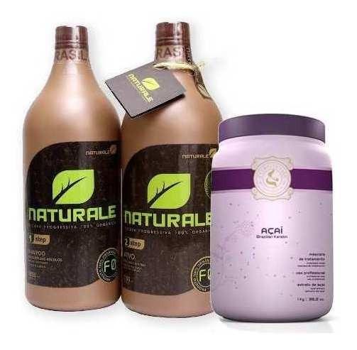 Escova Naturale 100% Orgânica 2x1000ml + Masc. Açai 1kg.