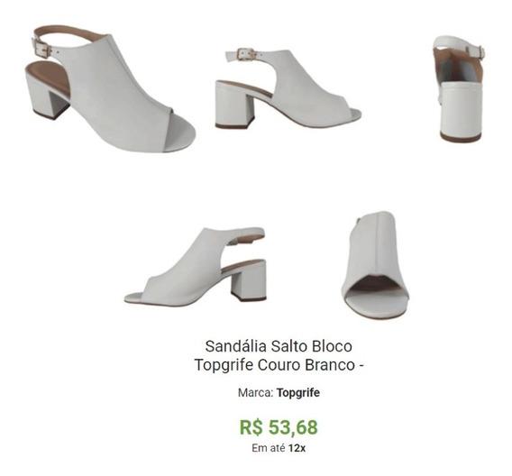 Sandália Salto Bloco Topgrife Couro Branco -