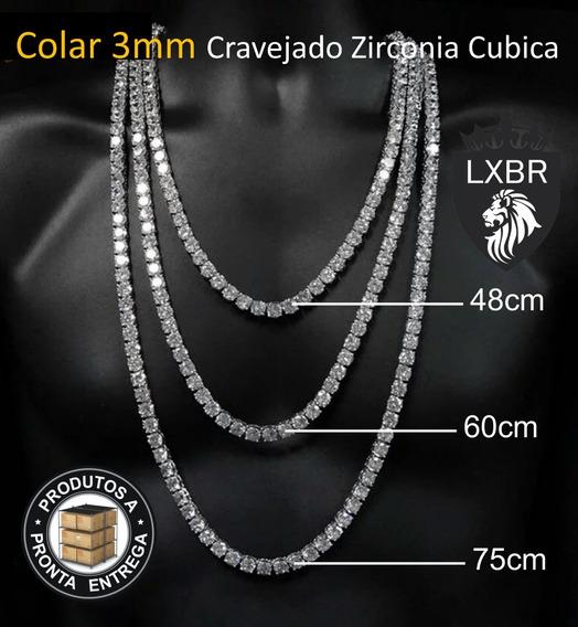 Colar 3mm Cravejada Corrente Neymar Lxbr 48cm 60cm 75cm