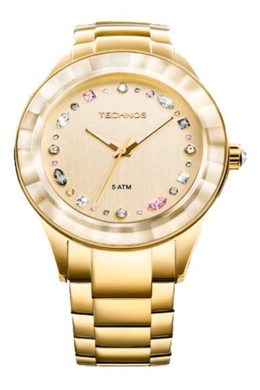 Relógio Feminino Technos Crystal Dourado