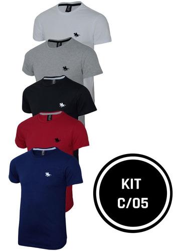 Imagem 1 de 6 de Kit  05 Camisetas Masculinas Blusa Camisa Slim Lisa Basic