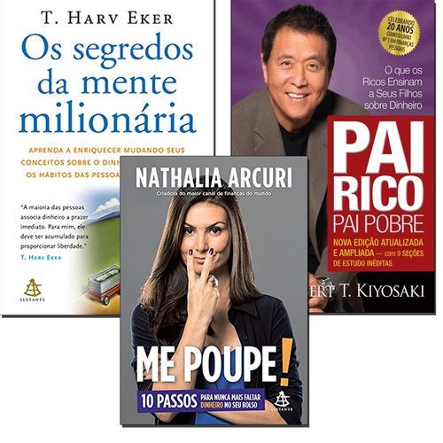 3 Livros Pai Rico Pai Pobre+ Os Segredos Da Mente + Me Poupe