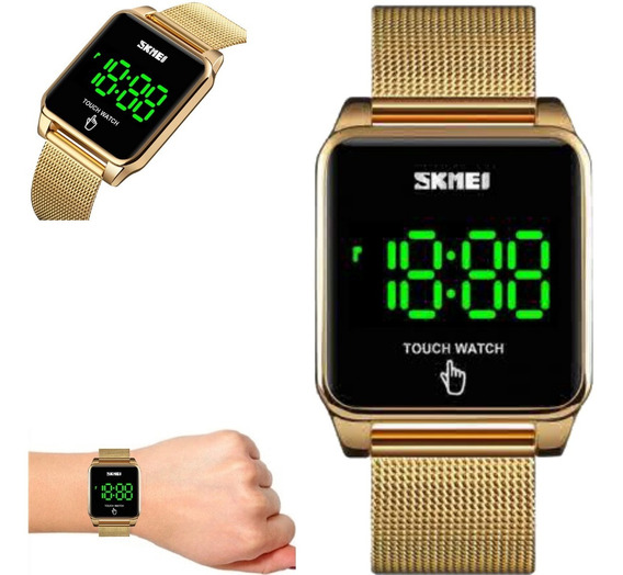 Relógio Quadrado Digital Skmei Touch Watch Dourado 1532