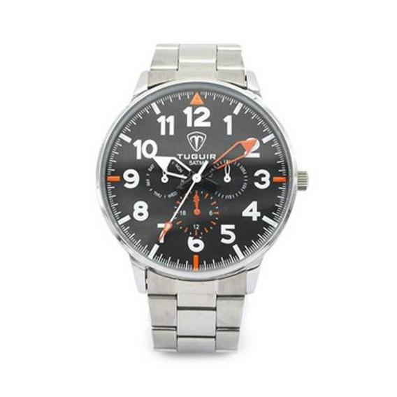 Relógio Tuguir Analógico 5002 Prata E Preto À Prova De Água, Caixa E Pulseira Metal Alloy, Super Versátil Ref. 020.
