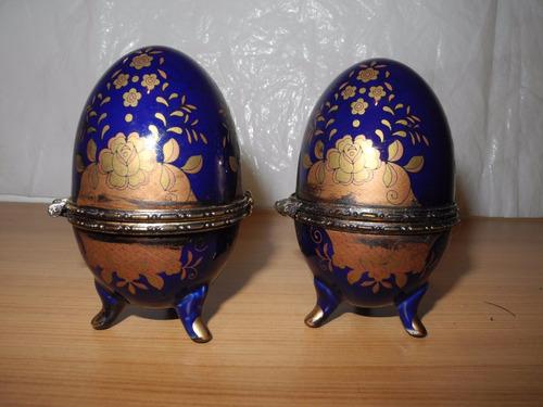 Antiguos Huevos Joyeros Azul Cobalto