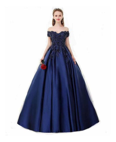 Vestido De Xv 15 Años Quinceañera Azul Marino Importado