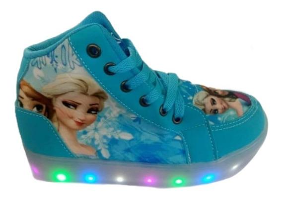 Tenis Botinha Luz Led Frozen Elsa Infantil Promoção Sapatos