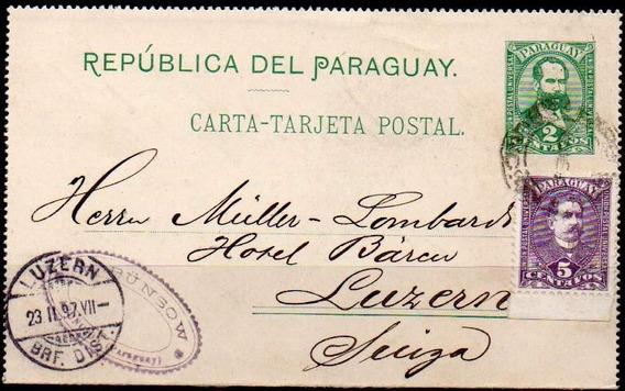 Paraguay 1897. Carta Tarjeta Postal De Asunción A Luzern