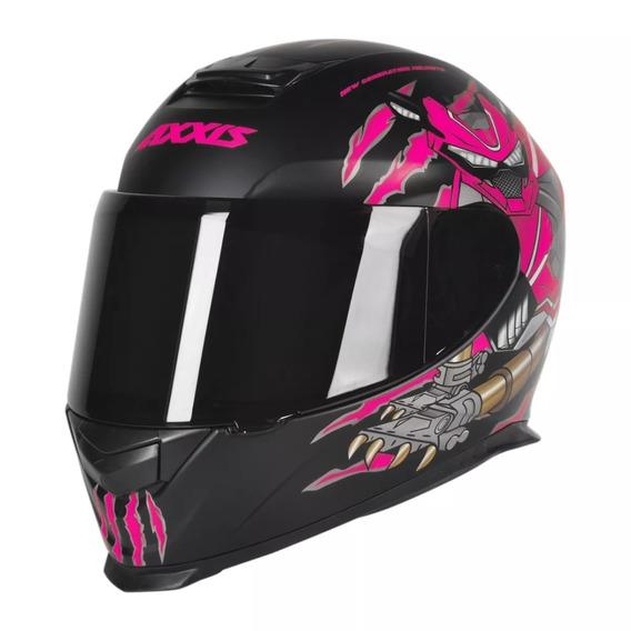 Capacete Moto Axxis Animals Preto Fosco / Rosa Tamanho 58