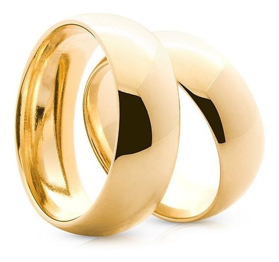 Par De Alianças Compromisso Casamento Cor 24k Banhada 6mm