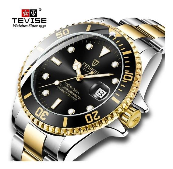 Relógio De Pulso Masculino Automático Tevise Estilo Rolex
