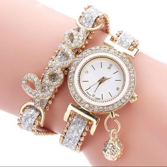 Relógio Feminino Lince Love Luxo Pratead Dourado Com Caixa