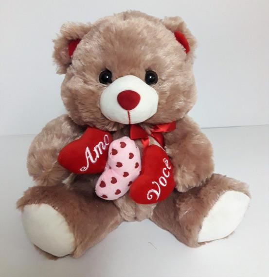 Urso De Pelúcia Com 3 Corações - Amo Você - 30 Cm