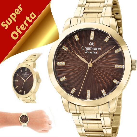 Relógio Feminino Champion Passion Dourado Original Cn292760