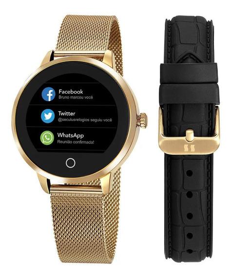 Relógio Digital Smart Pulseira Dourada Malha Italiana Aço