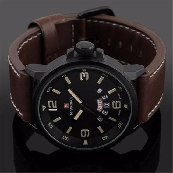 Relógio Naviforce 9028 Pulseira De Couro
