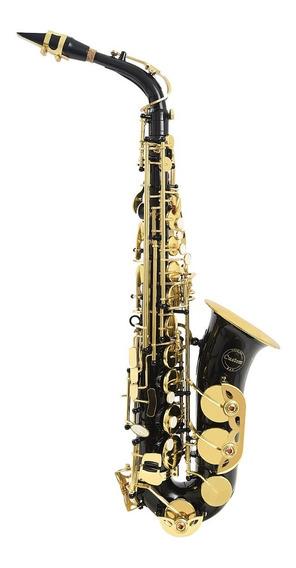 Amw Custom Saxofone Alto Preto Onix Chaves Douradas + Case !