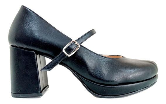 Zapatos Taco Bajo Mujer Stiletto Cerrado Pulsera Eco Cuero