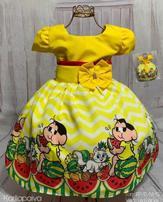 Vestido Temático Infantil Festa Magali 1 /6 Anos
