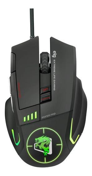 Mouse Gamer Elg Sniper Pro 5200 Dpi Led 4 Cores 8 Botões