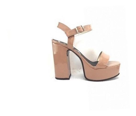 Zapato Mujer Sandalia Plataforma Natacha Charol Nude #1120